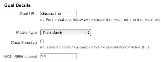 Google Analytics URL Destination Goals