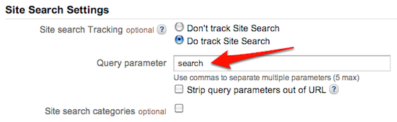 Google Analytics Site Search Settings
