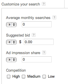 Google Keyword Planner - Filters