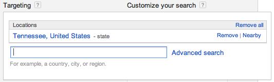 Google Keyword Planner - Geotarget