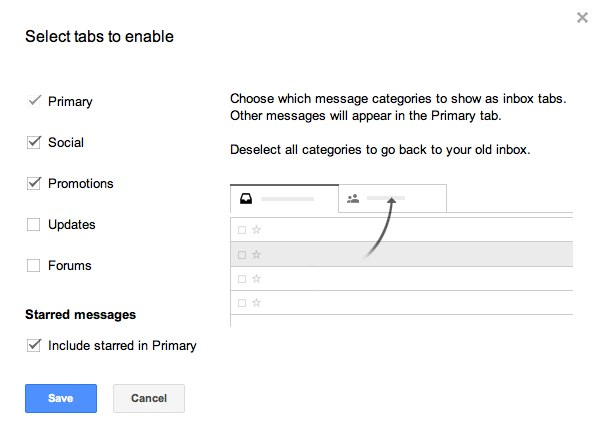 Gmail Inbox Tabs