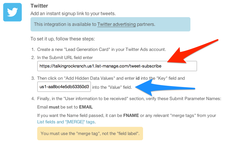 Twitter and MailChimp Integration