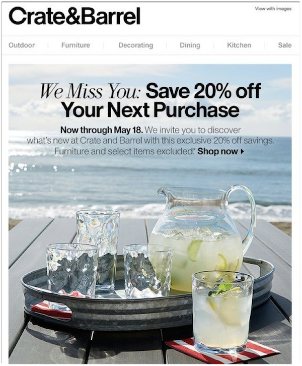 Crate & Barrel Activation Email