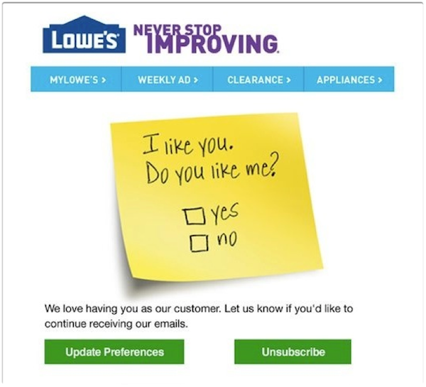 Lowes Reactivation Email